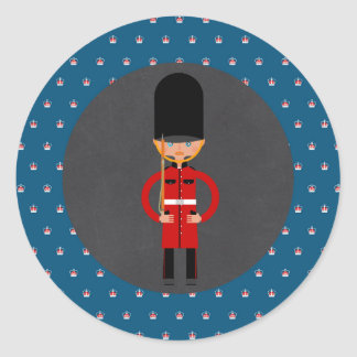 London Queen  Guard Style Kids Birthday Party Round Sticker