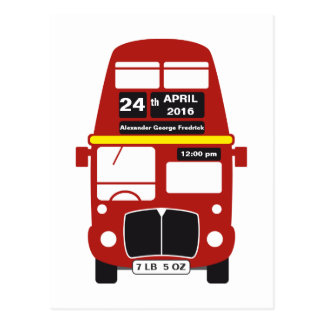 London Red Bus Baby Birth Announcement Post Card