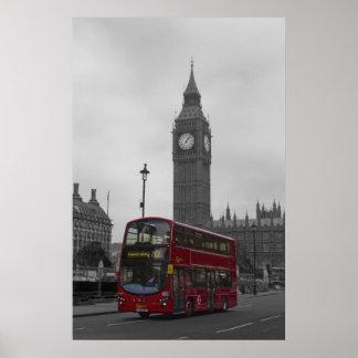 London Red bus Big Ben Poster