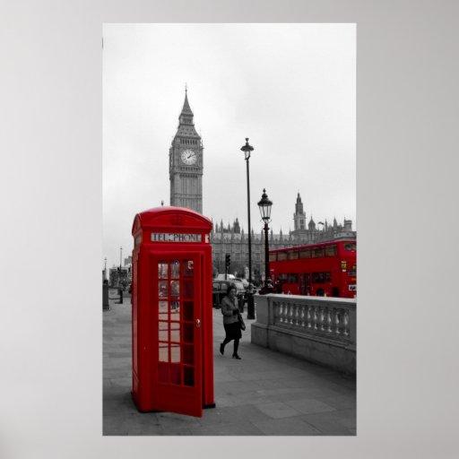 London Red bus Big Ben Telephone box Print