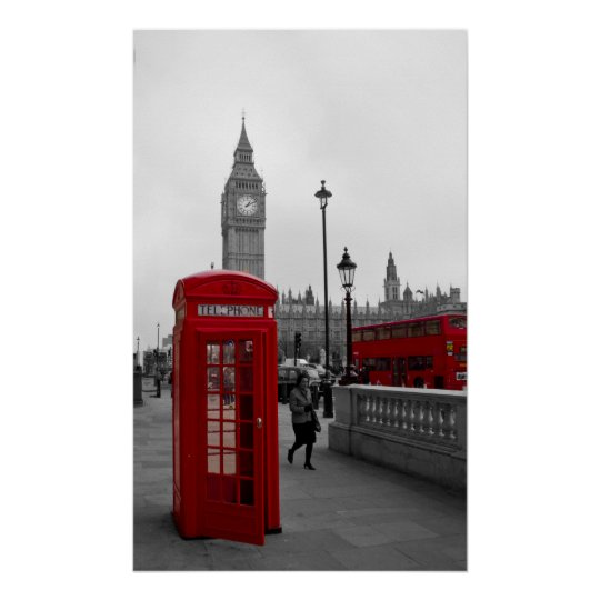 London Red bus Big Ben Telephone box Poster