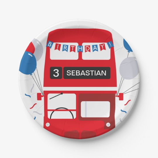 London Red Bus Birthday Personalised Paper Plate