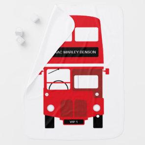 London red bus personalised baby blanket