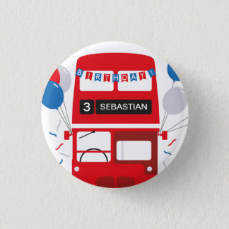London Red Bus Personalised Birthday Badge