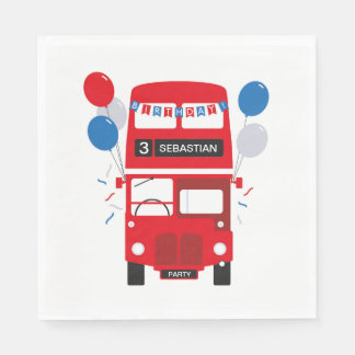 London Red Bus Personalised Birthday Paper Napkins Paper Napkin