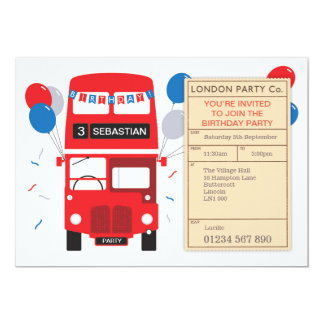 Party bus invitations announcements zazzle london red bus personalised birthday party invite stopboris Choice Image