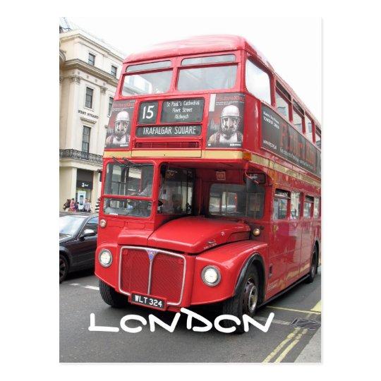 London Red Bus postcard