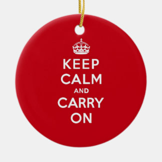 London Red Keep Calm and Carry On Christmas Ornament