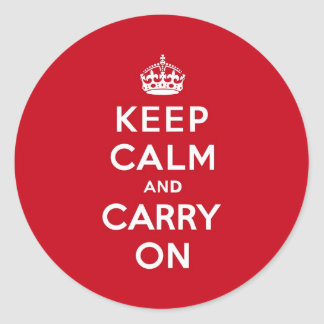 London Red Keep Calm and Carry On Round Sticker