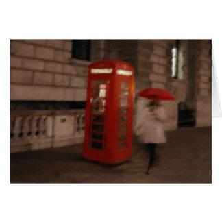 London Red Phone Box / Umbrella Greeting Card
