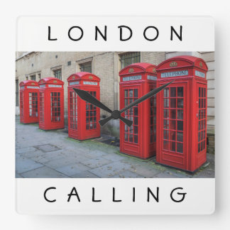 London red phone boxes square wall clock