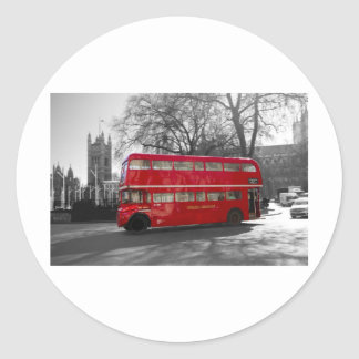 London Red Routemaster Bus Round Stickers