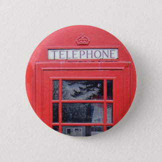 London Red Telephone Box 6 Cm Round Badge