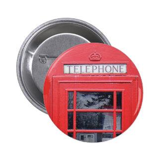 London Red Telephone Box 6 Cm Round Badge