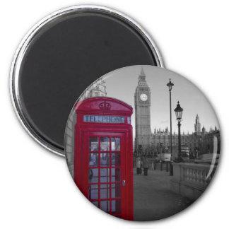 London Red Telephone box 6 Cm Round Magnet
