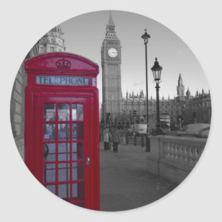 London Red Telephone box Classic Round Sticker