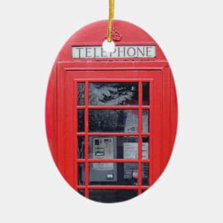 London Red Telephone Box Double-Sided Oval Ceramic Christmas Ornament