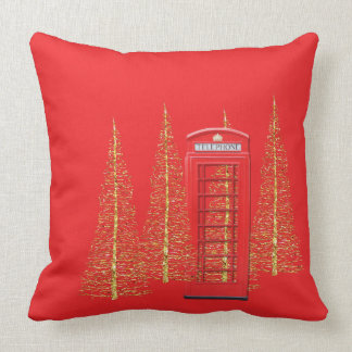 London Red Telephone Box Gold Trees Throw Pillow