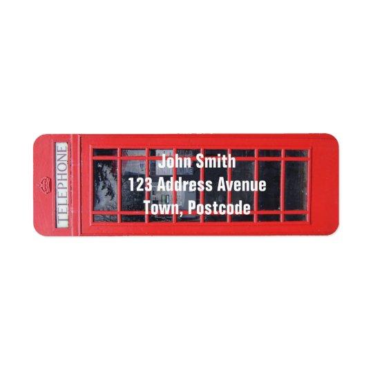 London Red Telephone Box Return Address Label