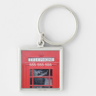 London Red Telephone Box Silver-Colored Square Key Ring