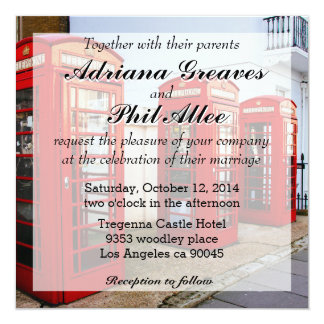 London Red Telephone Boxes, Photograph 13 Cm X 13 Cm Square Invitation Card