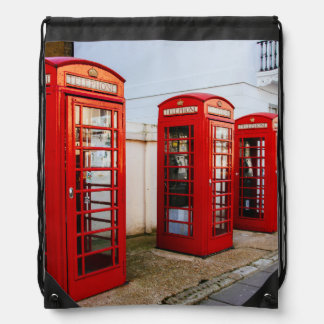 London Red Telephone Boxes, Photograph Drawstring Bag