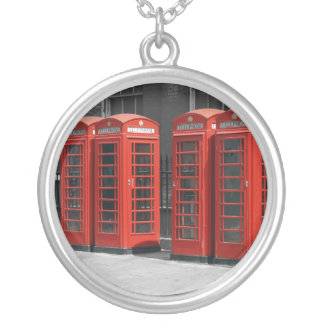 London Red Telephone Boxes Round Silver Necklace