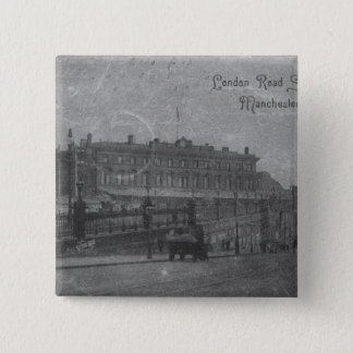 London Road Station, Manchester, c.1910 15 Cm Square Badge