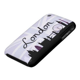 London Script on Union Jack Sky & Sites Purple iPhone 3 Cases