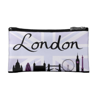 London Script on Union Jack Sky & Sites Purple Cosmetic Bag