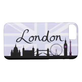London Script on Union Jack Sky & Sites Purple iPhone 8/7 Case