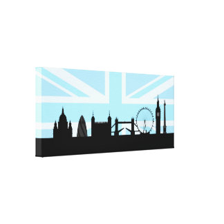 London Sites Skyline and Blue Union Jack/Flag Stretched Canvas Prints