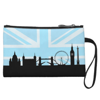 London Sites Skyline and Blue Union Jack/Flag Wristlet
