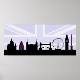 London Sites Skyline & Union Jack/Flag Purples Poster