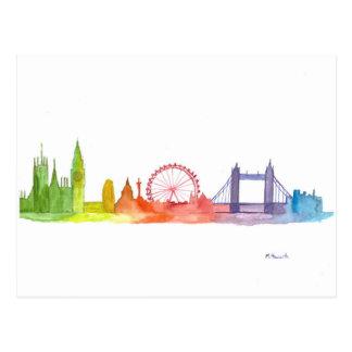 London skyline abstract art print postcard