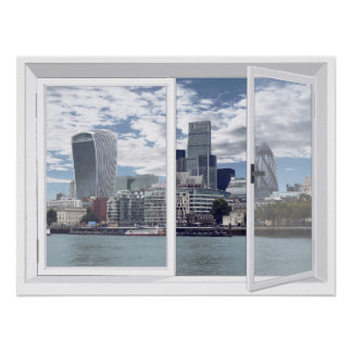 London Skyline City View Fake Window Poster