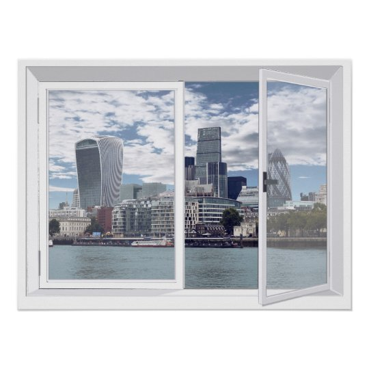 London Skyline City View Fake Window Poster