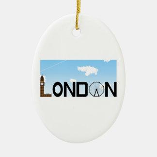 London Skyline Daytime Ceramic Oval Decoration