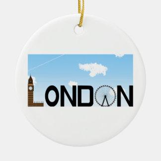London Skyline Daytime Round Ceramic Decoration