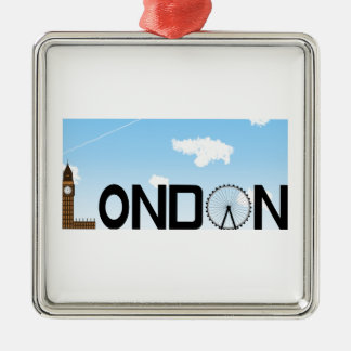 London Skyline Daytime Silver-Colored Square Decoration