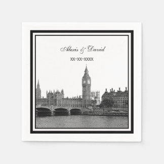 London Skyline Etched Framed Wedding Paper Napkins