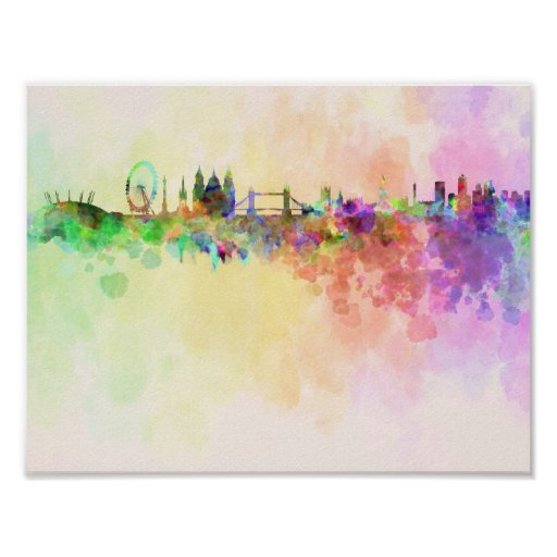 London skyline in watercolor background print