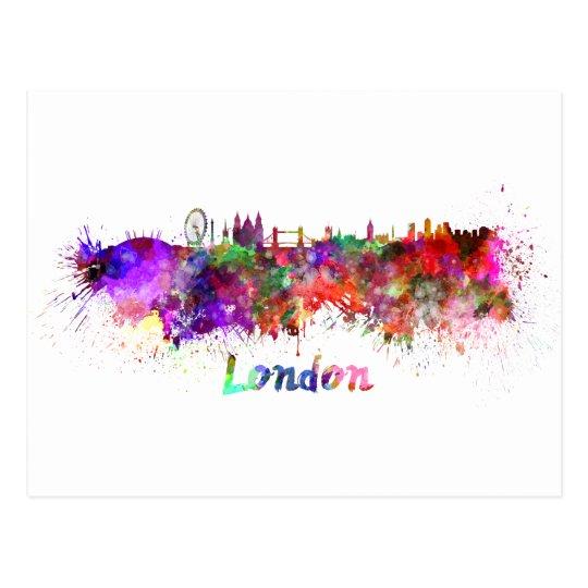 London skyline in watercolor postcard