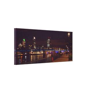 London Skyline & Millennium Bridge Stretched Canvas Print