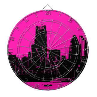London skyline pink - digitally altered dartboard