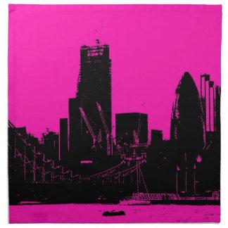 London skyline pink - digitally altered napkin