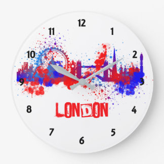 London Skyline Red White Blue Artistic Paint Splat Large Clock