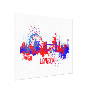 London Skyline Red White Blue Paint Splats Gallery Wrapped Canvas