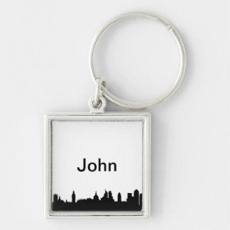 London skyline silhouette cityscape Silver-Colored square key ring