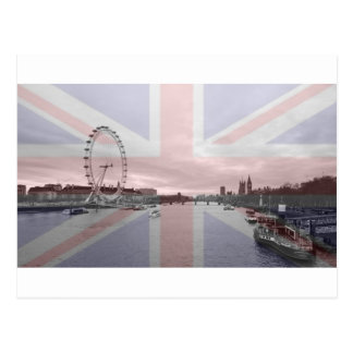 London Skyline Union Jack Flag Postcard